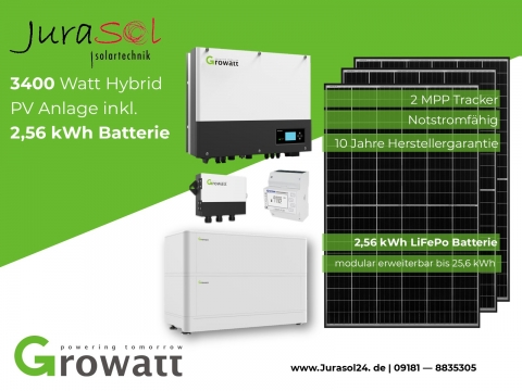 3400 Watt Solar Kit inkl. 2,56 kWh Batterie